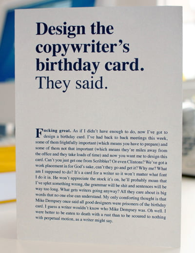 Copywriter's birthday card