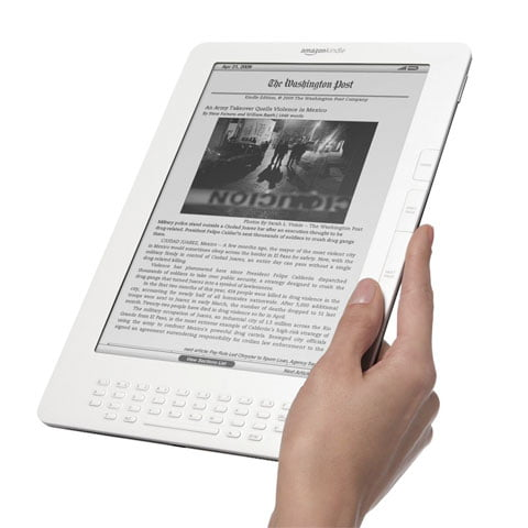 Why is the Amazon Kindle DX launched by a bookstore and not a leading media house?