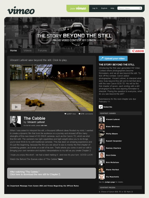 Canon Digs Into The Vimeo Video Community